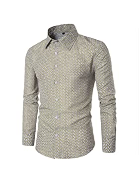 CHENGYANG Uomo Casual Slim Fit Floreale Stampa Camicia Manica Lunga Shirts Camicetta