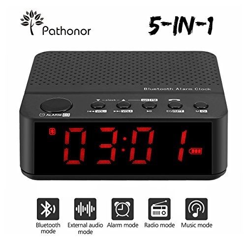 5 in 1 Radiowecker funkuhr digital von Pathonor, Bluetooth Lautsprecher, drahtlose bluetooth FM Radiowecker/Radiowecker mit Uhrenradio/digitaler Wecker/, Dual-Alarm mit USB-Ladeanschluss, LED-Anzeige mit Dimmer