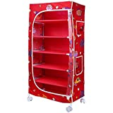 Little One's 6 Shelves Aquatic Red Foldable Wardrobe