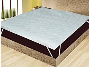 "India Furnish Waterproof Quilted Mattress Protector Double Bed Size with Elastic Band - White 75""x72"" + 1 Maroon color Large Bath Towel Combo"