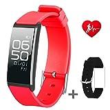 Slim Fitness Tracker Uhr mit Sleep Monitor Bluetooth Smart Watch Armband Sport Activity Tracker Pedometer mit Alarm Schritt Kalorienzähler Sleep Tracker für Android oder iPhone IOS, rot