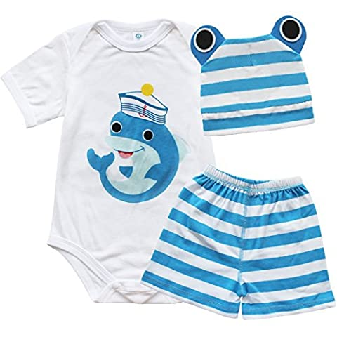 FEESHOW Newborn Baby Girl Boy Cartoon Outfits Bodysuit Clothing Onesie Pants Caps Set Dolphin 6-12 Months