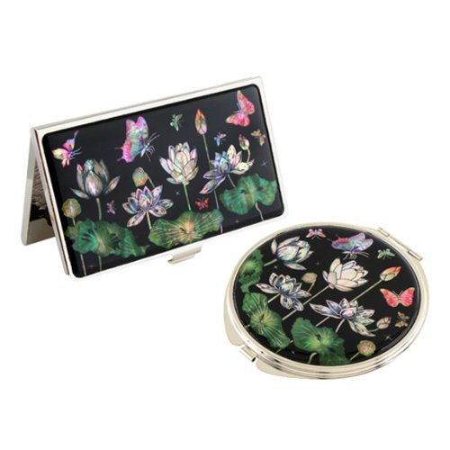 Set Miroir de Poche + Porte carte de visite Nacre Collection fleur LOTUS BLANC