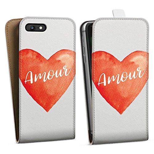 Apple iPhone 8 Silikon Hülle Case Schutzhülle Amour Liebe Herz Downflip Tasche weiß