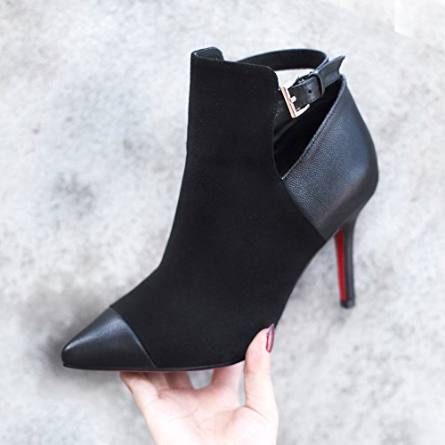 Autumn And Winter With Simple Metal Buckle All-Match Fine Pointed High-Heeled Boots black