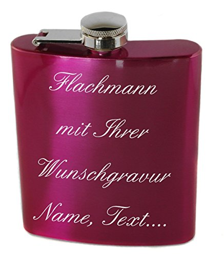 Flachmann Pink Edelstahl 200ml mit Wunschgravur, Wunschtext, Grafik oder Logo