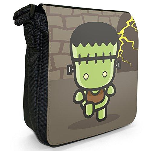 Kawaii Baby Monsters-Borsa a spalla piccola di tela, colore: nero, taglia: S Nero (Frankenstein In Laboratory)