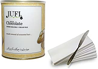 jufi white chocolate cream wax for hair remover (800gm) waxing strips,1 waxing knife