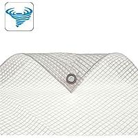 STI Telo bianco trasparente occhiellato retinato antivento antistrappo anti uv misura 3x4 mt
