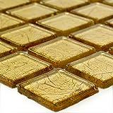 Glas Mosaikfliese Crystal Gold Struktur | Wandfliesen | Mosaik-Fliesen | Glasmosaik | Fliesen-Bordüre | Ideal für die Küche und Badezimmer (auch als Muster erhältlich)