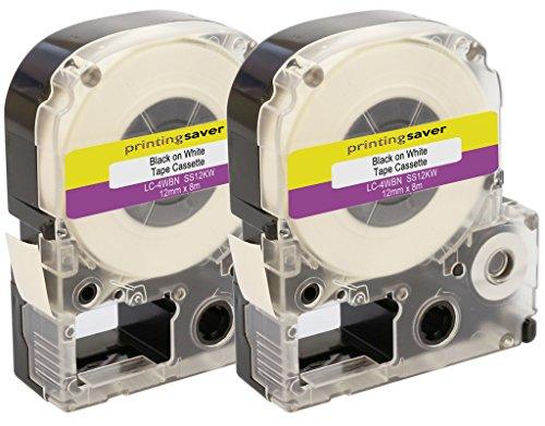 Printing Saver 2x LC-4WBN Schwarz auf Weiß 12 mm x 8 m Schriftbandkassetten kompatibel für Epson LabelWorks LW-300 LW-300L LW-400 LW-500 LW-600P LW-700 LW-900P LW-1000P Etikettendrucker - Epson Farbband Kassette
