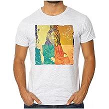 OM3 - LEON KING of REGGAE - Slim Fit Herren T-Shirt (Tailliert!!!) MUSIC LION GEEK KUSH