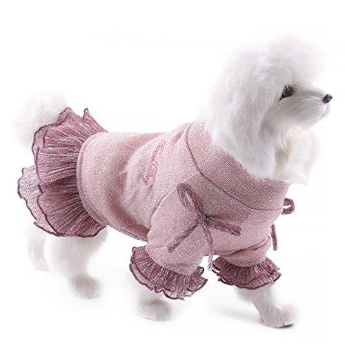 Touchdog Hundekleid mit Schleife, Prinzessin Kleid mit Spitze, Rock Kleidung Kostüm für Hunde