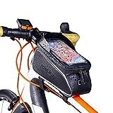 """Tomuku Bolsa Bicicleta, Bolsa Móvil Bicicleta, Bolsa Protectora Cuadro Bicicleta de móviles de hasta 6 """". Soporte Bolsa Bici Impermeable con Pantalla táctil para móviles (Negro1)"""