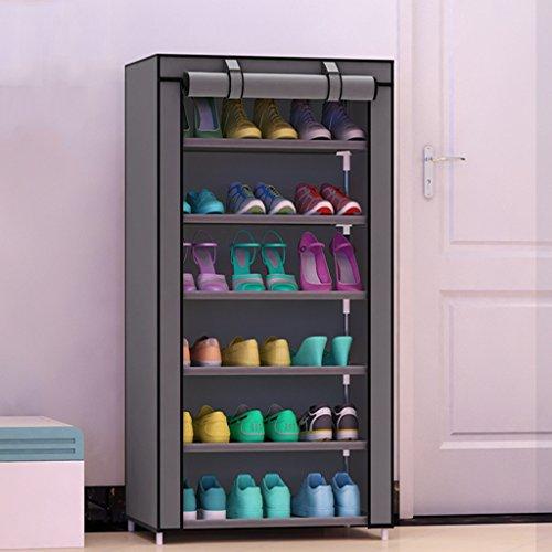 Schuhregal 6-Tier-Schuhablage Platzsparend Hält 24 Paar Schuhe Turm stapelbare Regale (Farbe : Grau)