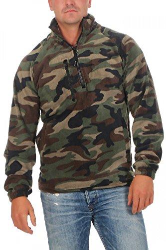 Herren Camouflage Fleece Pullover halber Reißverschluss Tarnfarbe, Größe:L, Farbe:Camouflage