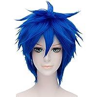 falamka Multi Color Short Straight Anime Cosplay Peluca Disfraz de Halloween, unisex Royal Blue