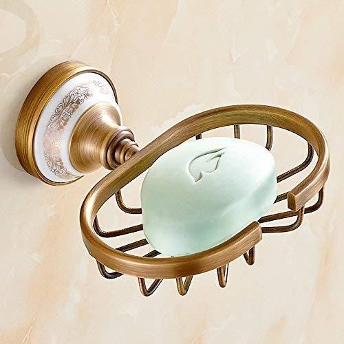 UHK Lysqva Badezimmerzubehör WC-Badezimmer Kieyyeuropean Antik Messing Seife Rack Seifenhalter Keramik Soap Basket 2 Styles - Keramik-soap