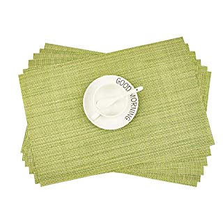 Addfun®Table Mats Set of 6,New PVC Insulation Non-slip Insulation Washable Placemats Green