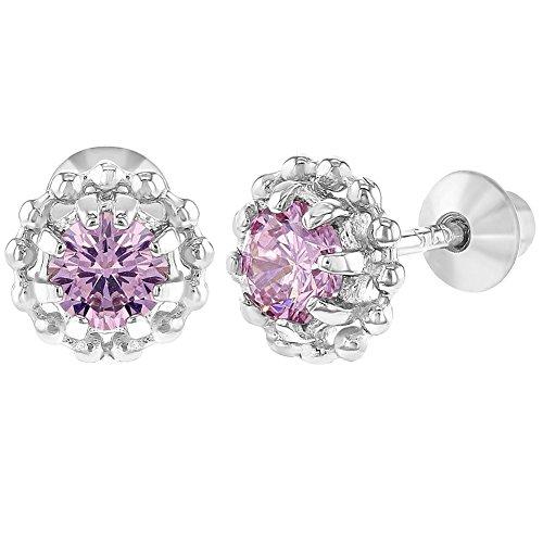 In Season Jewelry Baby Mädchen - Schraubverschluss Ohrringe Blume 925 Sterling Silber Rosa CZ Zirkonia 6mm (Silber Ohrringe Screwback)