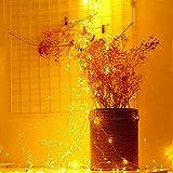 LED-Lichterkette, 8 Modi, 180 LEDs, Wasserfall-Lichterkette, 9 Stränge, Kupferdraht, batteriebetrieben, Lichterkette mit Fernbedienung für Gartenpflanzen, Baum, Weinreben, Dekoration, Party, Warmweiß