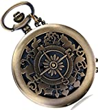 #6: Forest Bronze Classic Vintage Retro Antique Skeleton Hollow Pocket Watch With Chain (POW-0034)