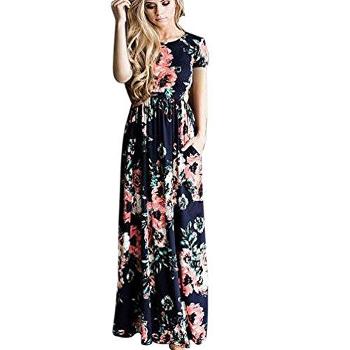 Kleider Damen Floral Print Kurzarm Lange Maxi Kleid Von Xinan (M, Blau) (Kleider Für Frauen, Die Brautjungfer)