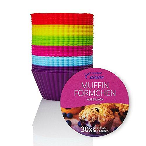 Lumaland Cuisine Silikon Cupcake und Muffin Backförmchen 30 Stück ca. Ø 7 x 3,2 cm hitzebeständig bis 260° C je 5 Stück in 6 bunten Farben