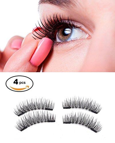 Falsche magnetische Wimpern, Audel Dual Magnetic Eyelashes Ultra Thin Reusable Fake Eyelashes 3D-Fiber wiederverwendbare falsche Wimpern, 4 Stück