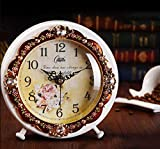 CCGG Uhr - Europäische Schlafzimmer Wohnzimmer Elektronische Uhr Antike Schreibtischuhr Stille Schlafzimmer Uhr