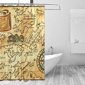 COOSUN – Cortina de ducha con diseño de mapa de pirata antiguo, con rosas de viento, juego de cortinas repelentes al agua de tela de poliéster, cortinas de baño para decoración del hogar con ganchos, 60 W x 72 L