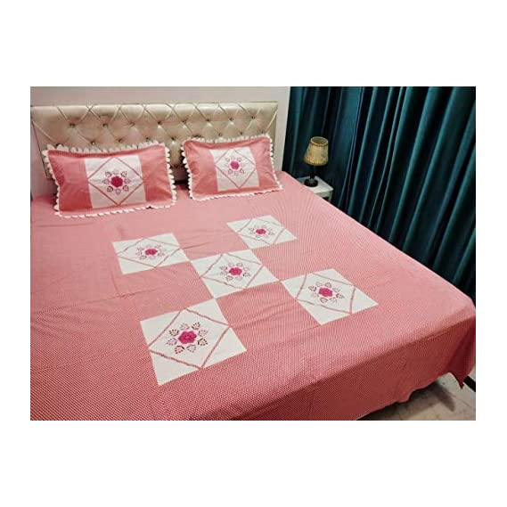 Afg Embroidery King Size Double Bedsheet 1 Double Bedsheet with 2 Pillow Covers