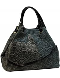 262cac9db0af6 BZNA Bag Lea dunkelgrau Grau grün Italy Designer Ledertasche Damen  Handtasche Tasche Wildleder…
