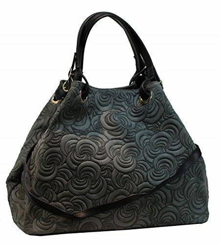 Bozana Bag Lea dunkelgrau Grau grün Italy Designer Ledertasche Damen Handtasche Tasche Wildleder Prägung Shopper Neu (Wildleder Grüne Designer-tasche)