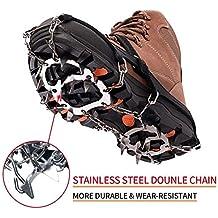 wirezoll Crampones para zapatos de montaña, 19 Cadena dientes Nieve de Acero Antideslizante pinchos y