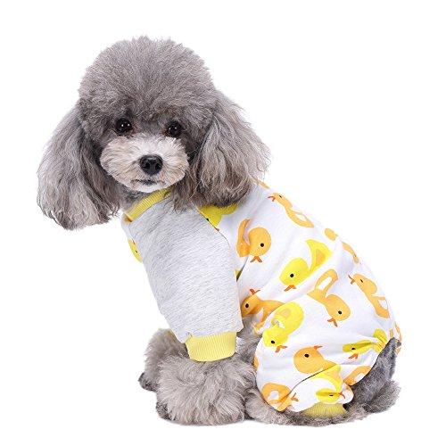 Handfly Per Hunde/Katze Pyjamas mit Kleine gelbe Ente Muster und Four Feet Design, Weich Alle Jahreszeiten Haustier Schlafanzug Jacken für Kleine und Mittelgroße Hunde - XS/S/M/L/XL