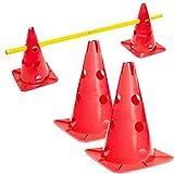 #DoYourFitness® Pylonen-Set/Trainingshürden (Lieferumfang : 3X Stangen (1,5m) & 2X Steckhütchen) - Koordinationshürde für Agility Training/Hürdenlauf rot/gelb Auriol