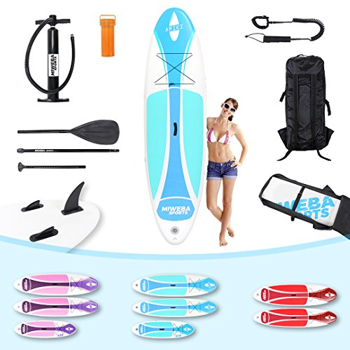 Miweba Stand Up Paddle SUP Board Surf Brett Ariki aufblasbar inklusive Paddle und Zubehör in verschiedenen Größen Kinder 230cm Erwachsene 325cm (Farbe: Cool-Blue; Größe: 325x76x15cm)