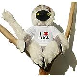 Sifaca (lémur) de peluche con Amo Elka en la camiseta (nombre de pila/apellido/apodo)