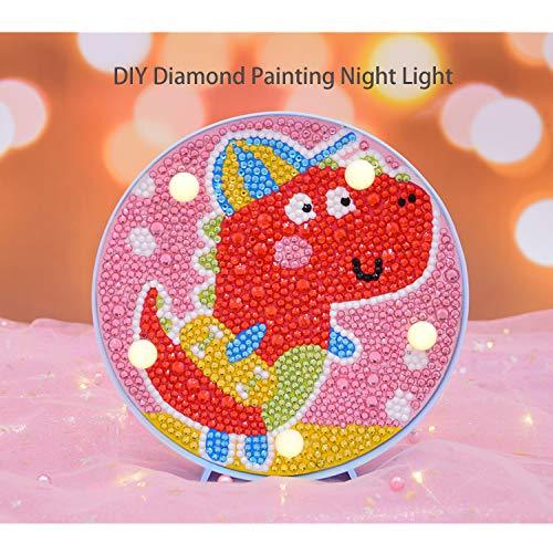 Diamond Painting Nachtlichter für Kinder Diamant Painting Bilder kinderzimmerlampe Dinosaurier Perlenbilder 5D Pictures Neon Light for Kids Dinosaur