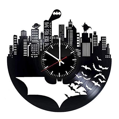 Batman Vinyl Records Wanduhr - Superheld Original Geschenk für die Fans des Films - Wandkunst Raumdekor handgemachte Dekoration Party Supplies Thema Geburtstagsgeschenk - Vintage und modernen Stil