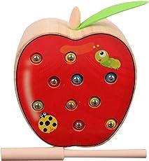 Isuper Holz Magnetisch Spielzeug, Lustiges Magnetspiel Wurm Fangen Spiel Kinder Spielzeug Motorikspiel für Kinder ab 2 Jahre (Apfel)