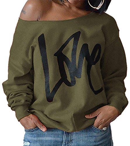 ZIOOER New Arrival Damen Pulli eine Seite Schulterfrei Love Langarm T-Shirt Rundhals Ausschnitt Lose Bluse Hemd Pullover Oversize Sweatshirt Oberteil Tops Armeegrün S