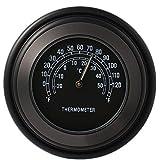 "XCSOURCE Thermomètre Cadran Noir Chrome Guidon Moto 7/8"" 1"" pour Universel Harley Honda Suzuki Yamaha MA544"