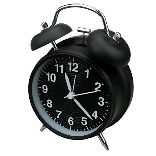 homchen Reloj Despertador de Campana Doble de 10,16 cm, sin tictac, Funciona con Pilas, Tradicional, con luz Nocturna, para dormitorios (Negro)