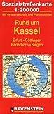 Rund um Kassel: Erfurt, Göttingen, Paderborn, Siegen. Spezialstrassenkarte mit Ortsverzeichnis. 1:200000