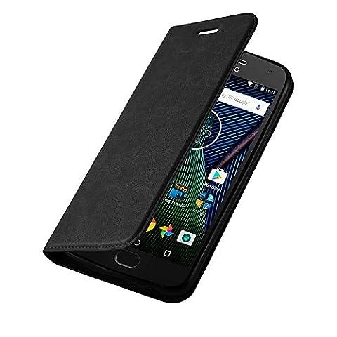 Lenovo (Motorola) MOTO G5 Hülle in NACHT-SCHWARZ von Cadorabo - Handy-Hülle mit unsichtbarem Magnet-Verschluss Standfunktion und Karten-Fach Case Cover Schutz-hülle Etui Tasche Book Klapp (Tasche Magnete)