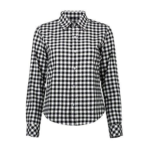Vertvie Femme Chemisier à Carreaux Manches Longues Col Revers Top Shirt Blouse Casual Boutonnière Noir/Blanc