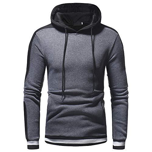 ZIYOU Herren Kapuzenjacke, Sport Fitness Hoodie Pullover Herbst Winter/Männer Muskel Slim fit Sweatshirt Mit Kapuze Baseball Outwear(Dunkelgrau,EU-48 / CN-XL)