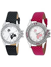 Shine Enterprise Stylish Diamond Studded Analogue Round White Dial Watch For Women(2 Watch Combo)